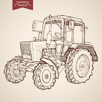 Grawerowanie obrazu ciągnika ręcznie rysowane vintage. maszyny rolnicze szkic ołówkiem