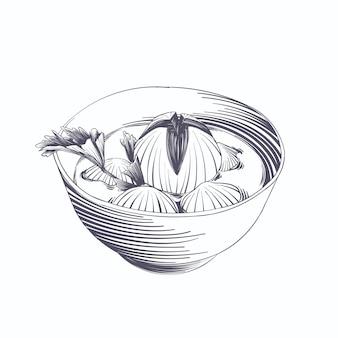 Grawerowanie ręcznie rysowane bakso