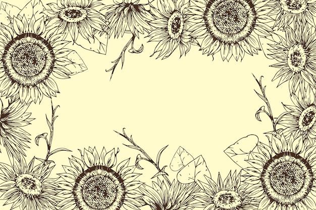 Grawerowanie ręcznie rysowane granicy słonecznika z miejsca na kopię