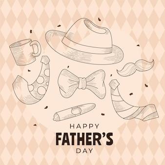 Grawerowanie ręcznie rysowane ilustracja dzień ojca