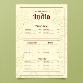 Grawerowanie ręcznie rysowane indyjskie menu