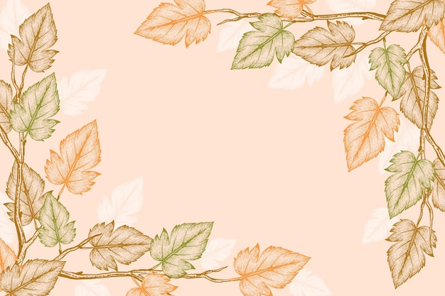Grawerowanie ręcznie rysowane jesienne liście tło