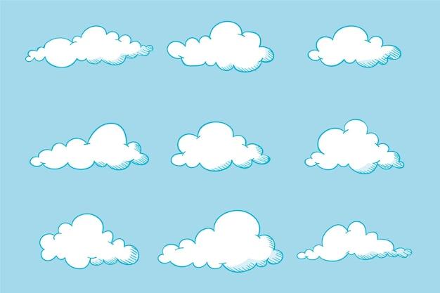 Grawerowanie ręcznie rysowane kolekcji chmur