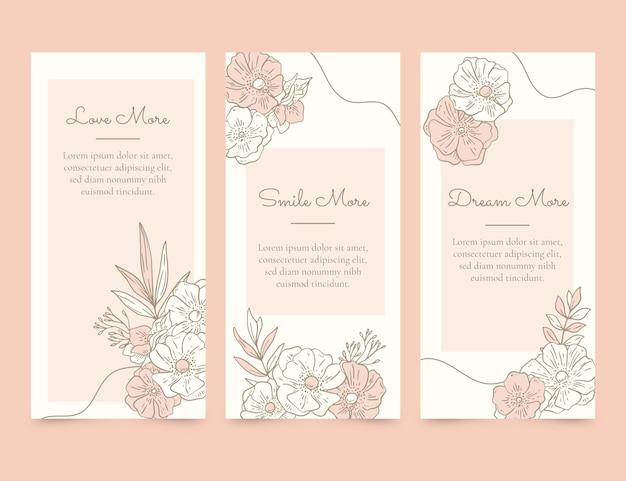 Grawerowanie ręcznie rysowane kolekcji kart kwiatowych