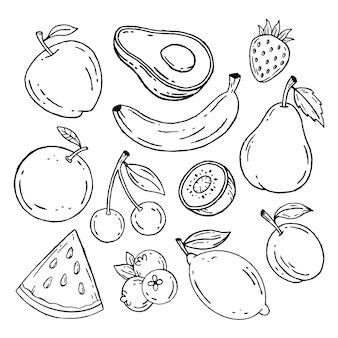 Grawerowanie ręcznie rysowane kolekcji owoców