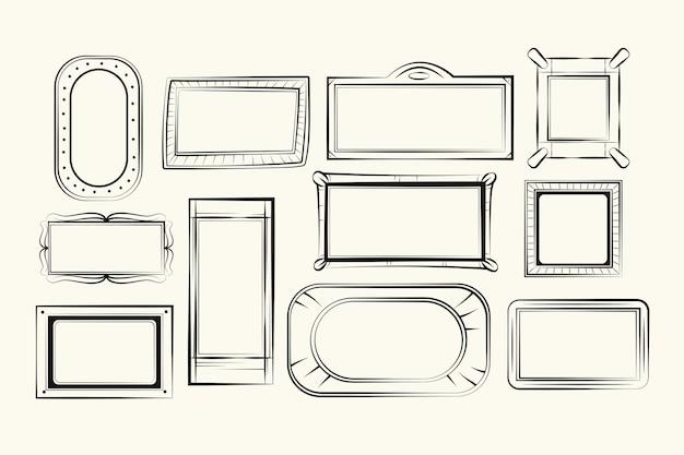 Grawerowanie ręcznie rysowane kolekcji ramek doodle
