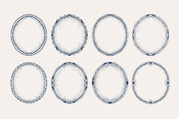 Grawerowanie ręcznie rysowane kolekcji ramek gryzmoły