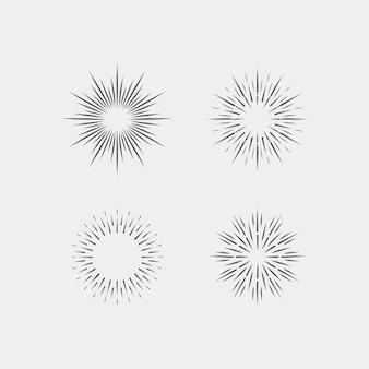 Grawerowanie ręcznie rysowane kolekcji sunburst