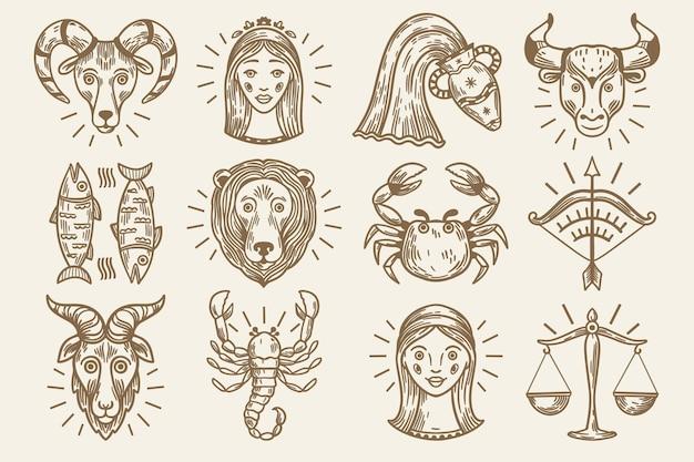 Grawerowanie ręcznie rysowane kolekcji znaków zodiaku