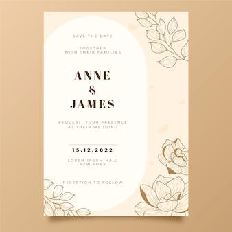 Grawerowanie ręcznie rysowane minimalne zaproszenie na ślub szablon