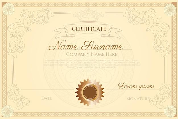 Grawerowanie ręcznie rysowane ozdobny certyfikat