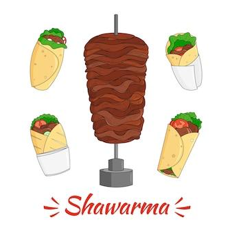 Grawerowanie ręcznie rysowane pożywnej ilustracji shawarma