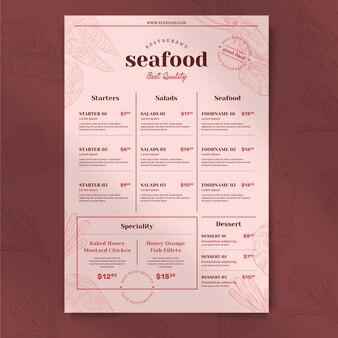 Grawerowanie ręcznie rysowane rustykalne menu restauracji