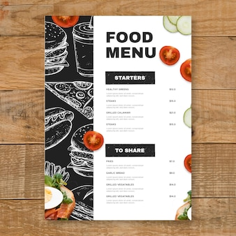 Grawerowanie ręcznie rysowane rustykalny szablon menu restauracji pionowej