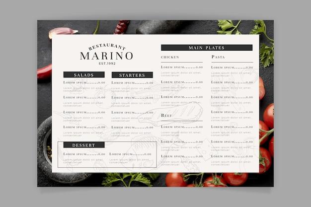 Grawerowanie ręcznie rysowane rustykalny szablon menu restauracji ze zdjęciem