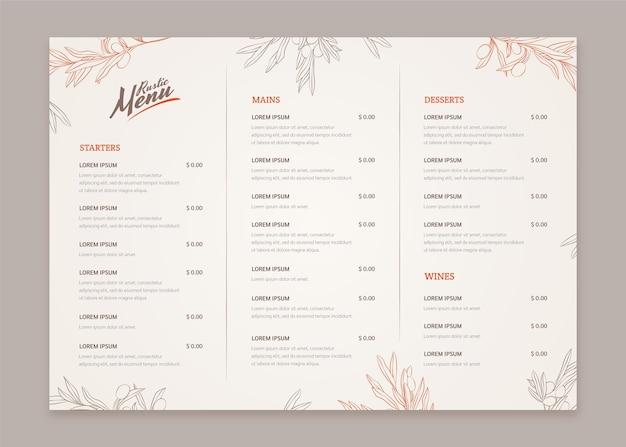 Grawerowanie ręcznie rysowane rustykalny szablon menu restauracji