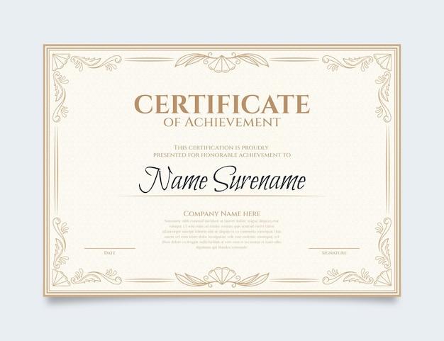 Grawerowanie ręcznie rysowane szablon certyfikatu ozdobnych
