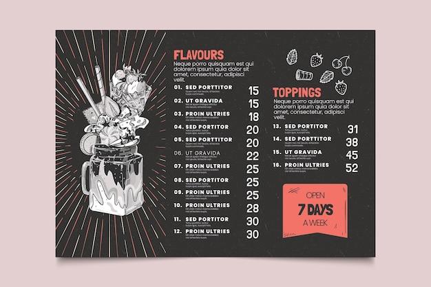 Grawerowanie ręcznie rysowane szablon menu tablica lody
