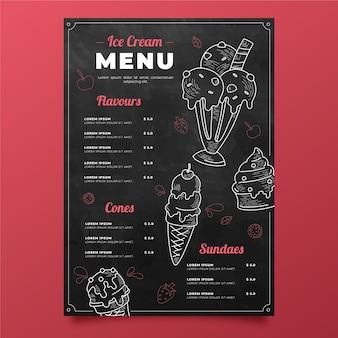 Grawerowanie ręcznie rysowane szablon menu tablicy lodów