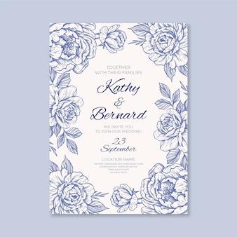 Grawerowanie ręcznie rysowane szablon zaproszenia na ślub kwiatowy