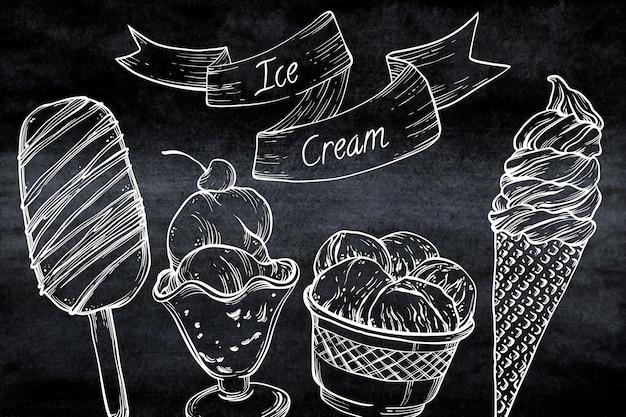 Grawerowanie ręcznie rysowane tła tablicy lodów