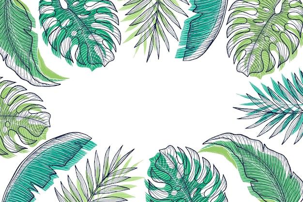 Grawerowanie ręcznie rysowane tła tropikalnych liści