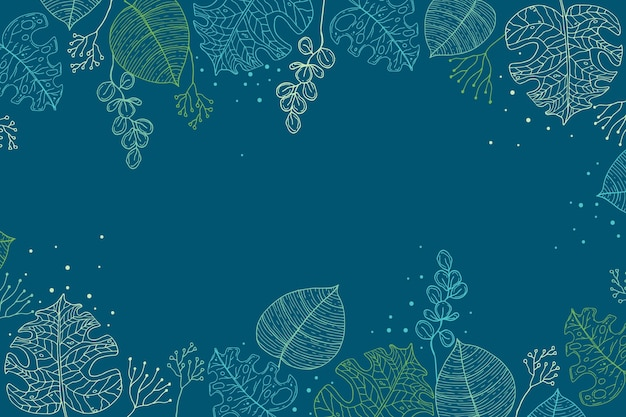 Grawerowanie ręcznie rysowane tropikalnych liści lato tło