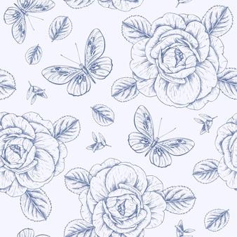 Grawerowanie ręcznie rysowane wzór botaniczny
