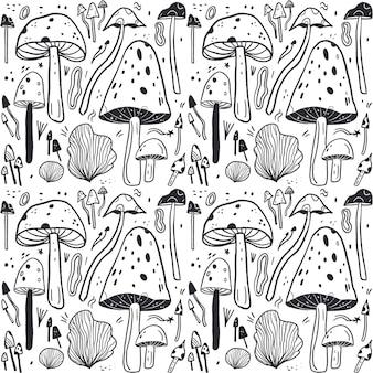 Grawerowanie ręcznie rysowane wzór grzyba