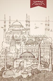 Grawerowanie ręcznie rysowane zabytków i zabytków w stambule. błękitny meczet szkic ołówkiem, zwiedzanie hagia sophia koncepcja podróży po turcji.