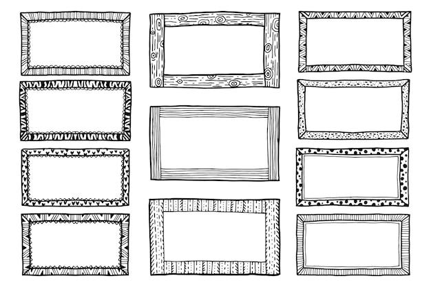 Grawerowanie ręcznie rysowane zestaw ramek doodle