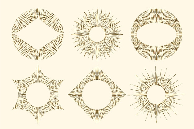 Grawerowanie ręcznie rysowane zestaw sunburst