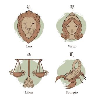 Grawerowanie ręcznie rysowane zestaw znaków zodiaku