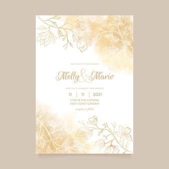 Grawerowanie ręcznie rysowane złote zaproszenie na ślub szablon