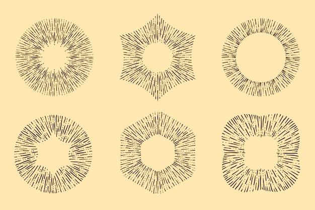 Grawerowanie ręcznie rysowanej kolekcji sunburst