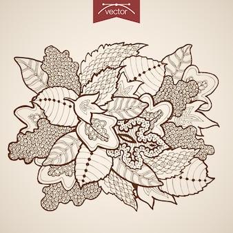 Grawerowanie rocznika ręcznie rysowane bukiet liści. ołówek szkic zielnik liści klonu dębu