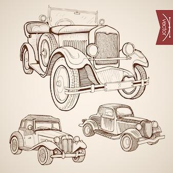 Grawerowanie rocznika ręcznie rysowane kolekcji retro samochodów. transport kołowy pencil sketch