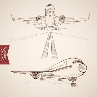 Grawerowanie rocznika ręcznie rysowane kolekcji transportu lotniczego. transport samolotem szkic ołówkiem