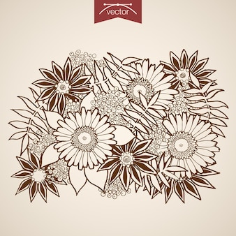 Grawerowanie rocznika ręcznie rysowane naturalny bukiet kwiatów. ołówek szkic rumiankowy kwiaciarnia