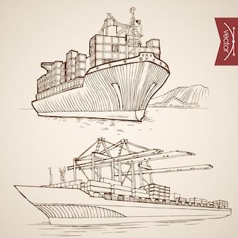 Grawerowanie rocznika ręcznie rysowane statek dostarcza i rozładowuje kolekcję kontenerów ładunkowych. ołówek szkic dostawy wody transport