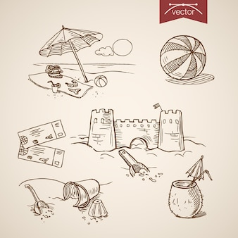 Grawerowanie rocznika ręcznie rysowane zamek z piasku, piłka, bilet, koktajl, bikini, torba na plażę.