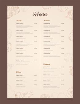 Grawerowanie rustykalnego szablonu menu restauracji