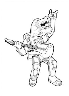 Grawerowanie rysować fajny koleś astronauta t rex tyrannosaurus gwiazda rocka grać na gitarze w skafandrze kosmicznym. vintage postać z kreskówki komiksy pop-art styl ilustracji na białym tle