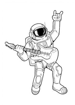 Grawerowanie rysowanie z fajnym kolesiem astronautą kosmonautą gwiazdą rocka graj na gitarze w skafandrze kosmicznym. vintage postać z kreskówki komiksy pop-art styl ilustracji na białym tle