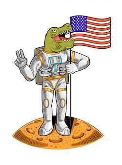 Grawerowanie rysunkiem z zielonym astronautą t rex tyranozaur w skafandrze kosmicznym na księżycu przytrzymaj amerykańską flagę usa pierwszy lot na księżycowym programie kosmicznym apollo.