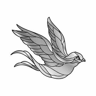 Grawerowanie stylu jaskółki ilustracji