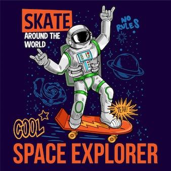 Grawerowanie zabawny fajny koleś w skafandrze kosmicznym astronauta kosmonauta jeździć na deskorolce kosmicznej między gwiazdami galaktyki planet. komiks kreskówka pop-art do druku t-shirt plakat odzież dla dzieci.