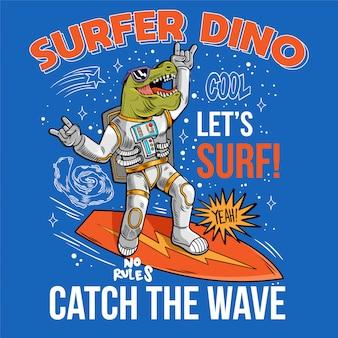 Grawerowanie zabawny fajny koleś w skafandrze kosmicznym surfer dino zielony t rex złap falę na desce surfingowej kosmicznej surfując między gwiazdami galaktyki planet. kosmiczne pop-arty z kreskówek do projektowania t-shirtów