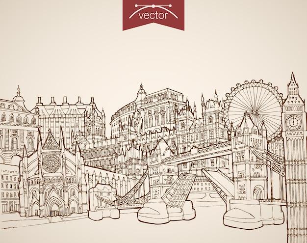Grawerowanie zabytkowych, ręcznie rysowanych zabytków i zabytków londynu. szkic ołówkiem pałac buckingham, big ben, oko, zwiedzanie tower bridge koncepcja podróży do wielkiej brytanii.