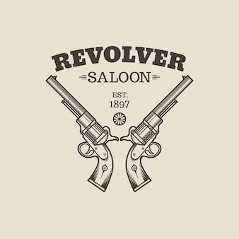 Grawerowanie zachodnich rewolwerów. ilustracja w stylu vintage